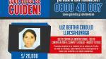 Luz Bertha Criollo Llacsahunaga fue incluida en la lista de los más buscados por el Ministerio del Interior y se ofrecía una recompensa de S/20 mil por información de su paradero. (Difusión)