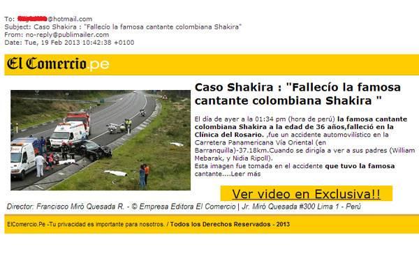 Falso correo sobre Shakira enviado a nombre de El Comercio es software malicioso
