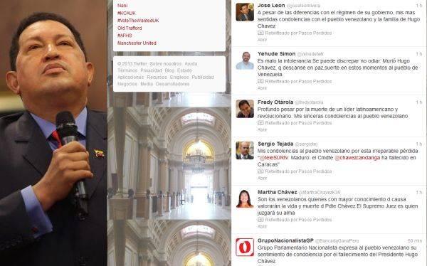 Murió Hugo Chávez: así lo lamentaron los políticos peruanos en Twitter