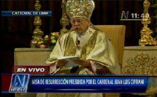 Cipriani llama al perdón en Misa de Resurección en la Catedral de Lima