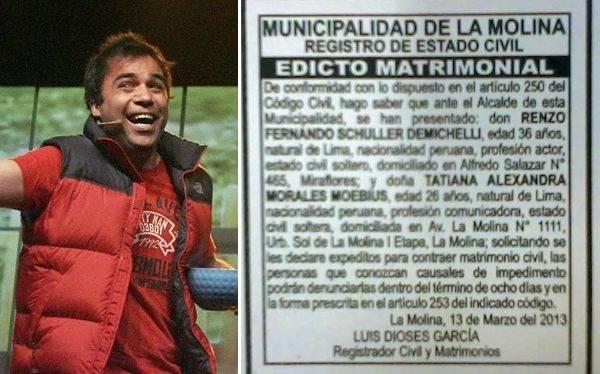 Renzo Schuller se casará en La Molina con novia diez años menor que él