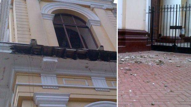 Chiclayo: cornisa de la Iglesia Santa María Catedral se desplomó