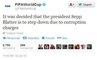 Hackers hacen creer al mundo que Joseph Blatter renunció a la FIFA por corrupción