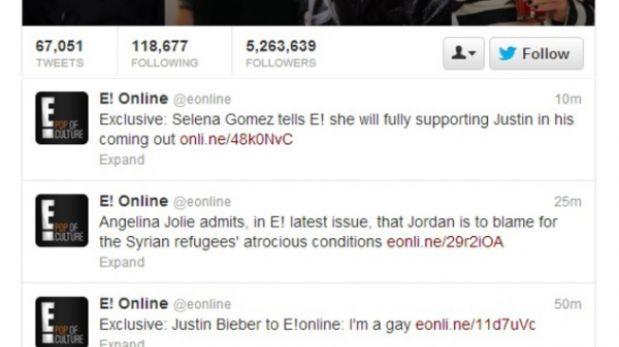 """Portal hackeado informó que Justin Bieber """"salió del clóset"""""""