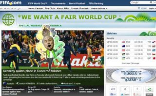 Una versión 'pirata' del la web de Brasil 2014 se burla de Blatter