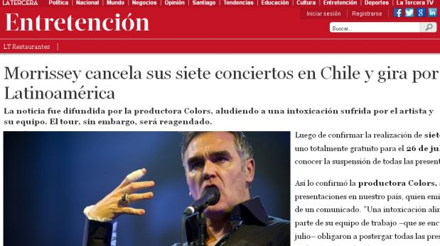 FOTOS: la intoxicación de Morrissey en Lima fue vista así en el mundo