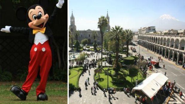 Polémica en Arequipa por homenaje a Mickey Mouse en la municipalidad
