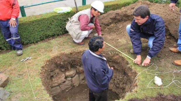 Huamachuco: descubren antiguo canal subterráneo en plaza de armas