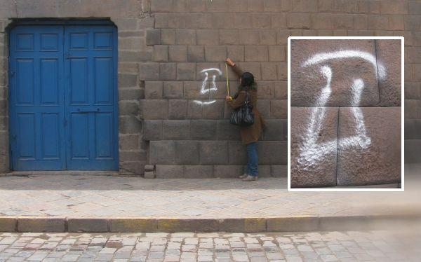 Muro inca en Cusco fue pintado con el símbolo de la 'U'