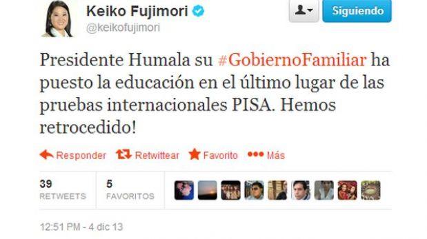 """Keiko Fujimori culpó al """"Gobierno familiar"""" por resultados de prueba PISA"""