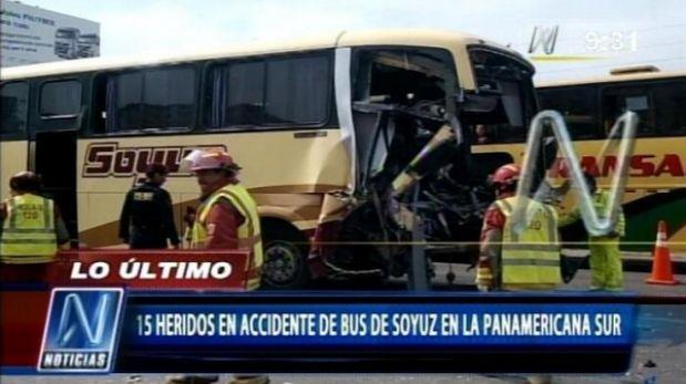 Choque de bus de Soyuz con un tráiler dejo 25 heridos en la Panamericana Sur