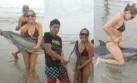 Indignación por jóvenes que se fotografiaron con delfín varado