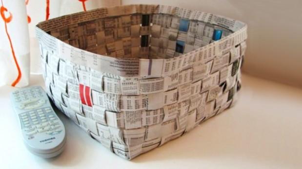 Crea tus propias canastas con periódicos reciclados | Ideas y ...