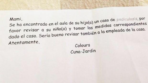 Nido de La Molina reconoce que envió esta nota discriminatoria