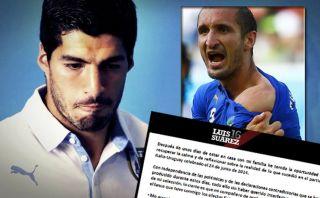 Luis Suárez le pidió perdón a Chiellini por morderlo