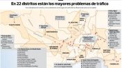 Mapa: los 75 cruces de mayor caos vehicular en horas punta