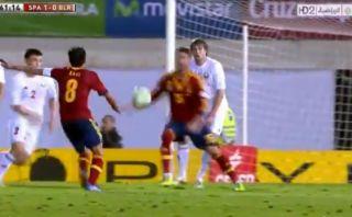 Así fue el último gol de Xavi con la selección española