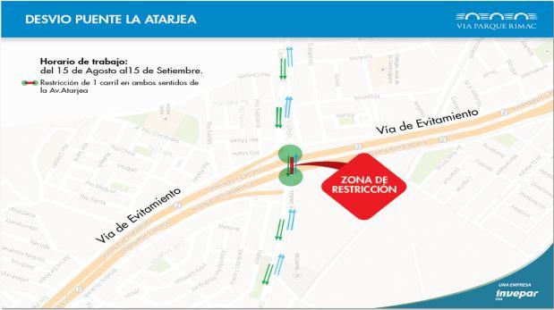 La restricción de vehículos por dos carriles de la avenida durará un mes (Foto: Vía Parque Rímac)