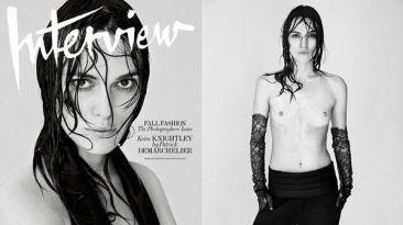 """Keira Knightley posó en 'topless' para la revista """"Interview"""""""