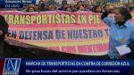 Protesta de transportistas retrasa el tránsito de buses azules - Noticias de avenida perú