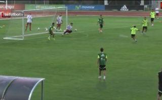 Tapadón de Iker Casillas en los entrenamientos de España