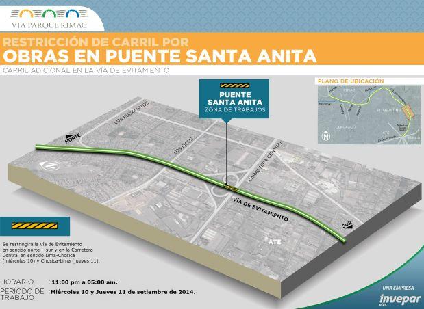 El cierre de Evitamiento y la Carretera Central se debe a las obras en el puente Santa Anita (Foto: referencial)
