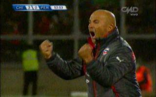Jorge Sampaoli y sus eufóricos festejos en los goles de Chile