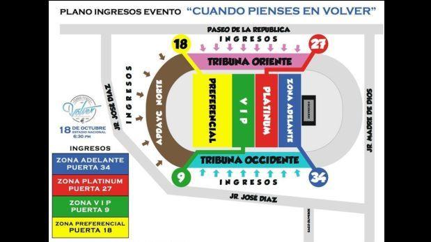 Pedro su rez v rtiz mira el plano con las zonas de for Puerta 27 estadio nacional