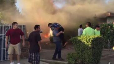 California: Héroe anónimo salvó a un hombre de un incendio
