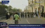 Chiclayo: Protesta de empleados municipales enfrentó a policías