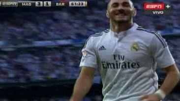Golazo de Real Madrid: Benzema marcó el tercero ante Barcelona
