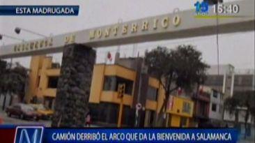 Arco de Salamanca de Monterrico fue destruido por camión