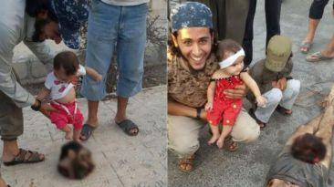 Estado Islámico difunde imagen de bebés pateando a decapitado