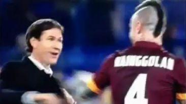 Divertido festejo del DT de la Roma tras ganar en la Serie A