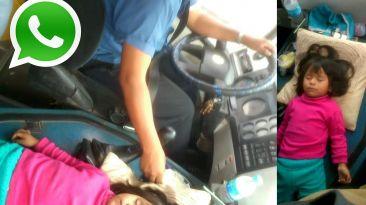 Vía WhatsApp: chofer maneja con niña durmiendo encima del motor