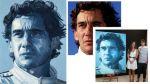 Retrato de Ayrton Senna con retazos de jeans de su familia - Noticias de marcos senna