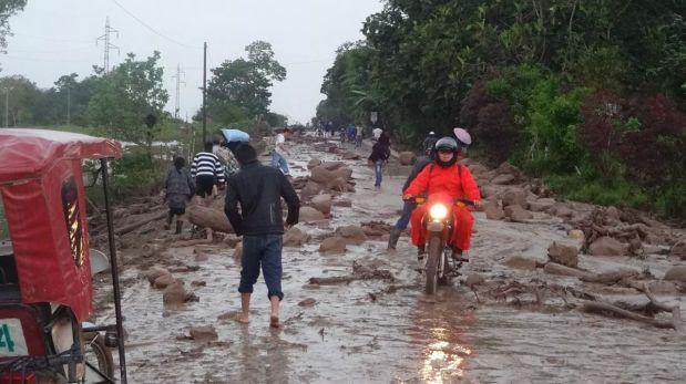 Más de 10 horas de lluvia bloquearon las carreteras. (Foto enviada vía WhatsApp)