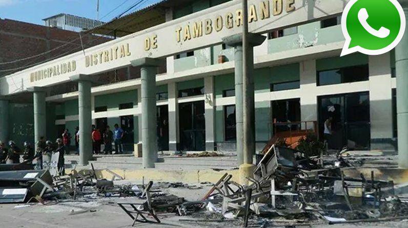 Un grupo de pobladores incendió ayer las instalaciones del municipio distrital de Tambogrande (Foto: WhatsApp/El Comercio)