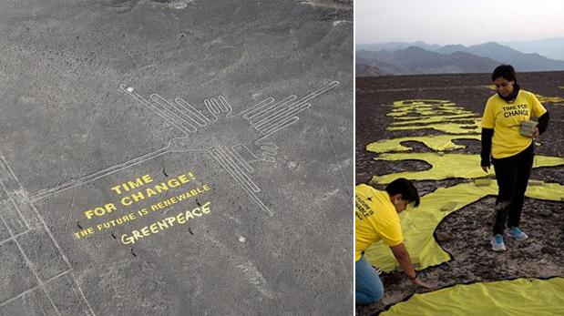 Facebook: Greenpeace respondió ante critica por líneas de Nasca