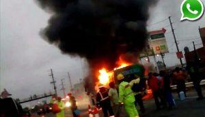 Bus en marcha y con pasajeros se incendió en Panamericana Sur