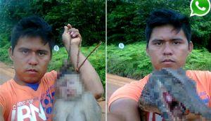 Indignación por hombre que se tomó selfies con animales muertos