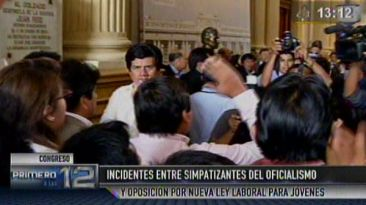 Ley laboral: jóvenes protagonizan gresca en el Congreso