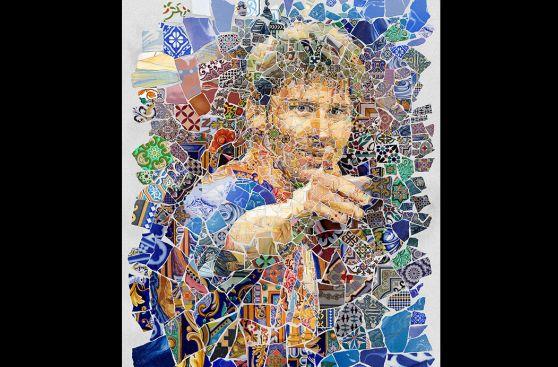 Lionel Messi en collages hechos de fragmentos de cerámica