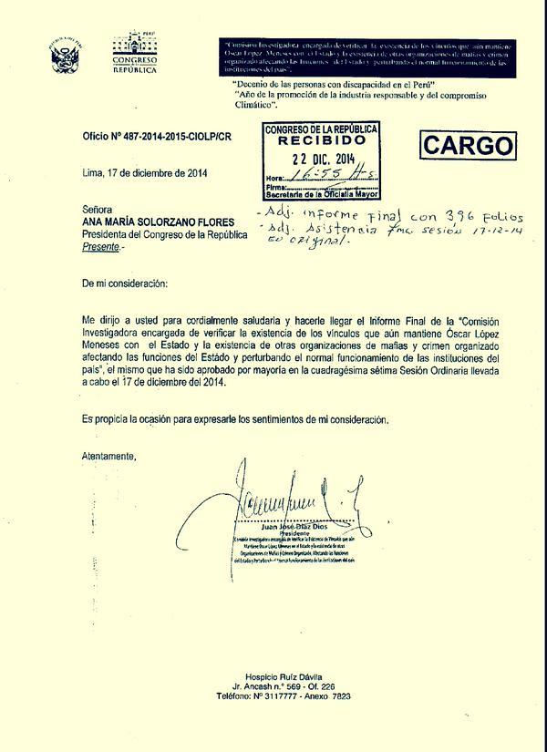 Cargo que confirma que Juan Díaz Dios, presidente de la comisión López Meneses, presentó informe a mesa directiva. (Foto: Twitter)
