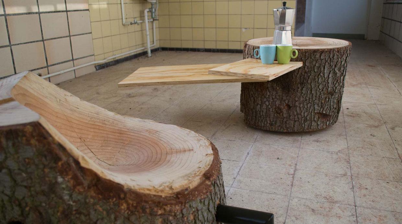 Muebles con troncos de madera troncomesa with muebles con for Muebles con troncos