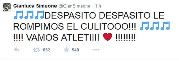 [Foto] Twitter: hijo de Simeone tuiteó grosería sobre el Real Madrid