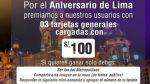 Facebook: polémica por sorteo de tarjetas del Metropolitano - Noticias de aniversario de lima