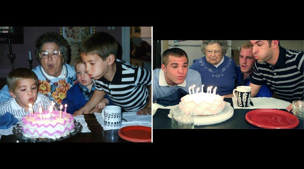Hermanos recrean fotos de su infancia como regalo de for Regalo especial para un hermano