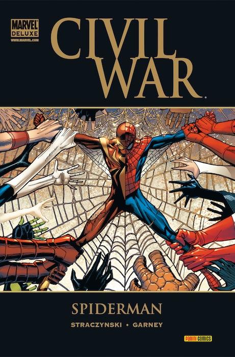 Portada de un tomo compilatorio de las aventuras de Spider-Man durante la Guerra Civil. Ambos bandos se lo pelean. (Marvel)
