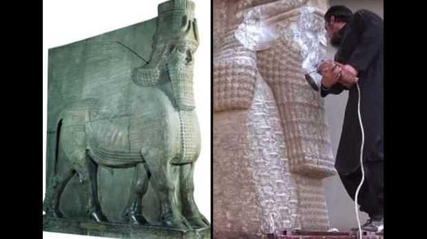 """La """"esfinge"""" asiria destruida por el Estado Islámico"""